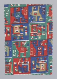 Fragment showing a design of llamas and headdresses (?) in red, blue and green. Design inspired by motifs found on the textiles of mummy bundles from the Bolivian Andes.