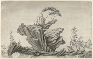 Horizontal rectangle. Landscape. House of spiral design atop branching columnar rock rising out of water. Trees, waterfall and bridges also on rock. At left, an arch. At right, a volcano and aqueduct. Light olive mat, white frame rubbed with sienna.