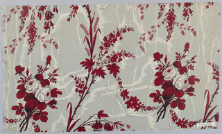 Ground molette printed in grey zig-zags which form moire pattern. Overprinted with sprays of roses and wild flowers in shades of dark red and white, form being given to the white roses by means of tiny dots. Trailing white ribbons, outlined by dots, connect the design elements.