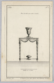Suite 1, pl. 2. Vertical rectangle. Table with two legs pictured, fluted with encircling bands. Flower garlanding from the frame; rosettes and ribbon. A large vase above, with laurel. A squat vase on the crosspiece below, with animal mask. Top left corner, suite number. Below: artist's name, publisher's name, place of publication (see 1947-131-101). SKB 1267
