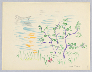 Drawing, Rowboat in Water with Tree in Foreground, Rockport