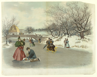 People sledding and skating on ice; bridge left, with observers, building beyond. Foreground left, man kneeling to fix his partner's skate. Artist's name and title, lower right.