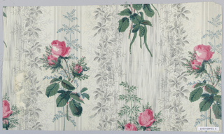 A) Grey ground of stripes and foliage over-printed in design of flowering vine.