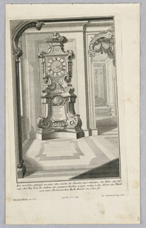 Plate 5. Design for a large, free standing case clock with face mounted on large pedestal base. Date, year, month and day displayed. Scene into bedroom at right.