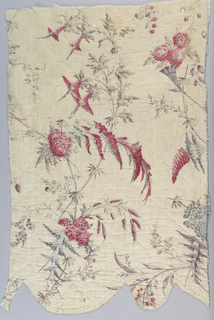 Valance fragment in white cotton with a printed design of fantastical flower sprays, serrated leaves and blossoms showing influence of Pillement. Colors are red, blue and light purple. Quilted using intersecting diagonals to create diamond shapes. Interlined with wool.