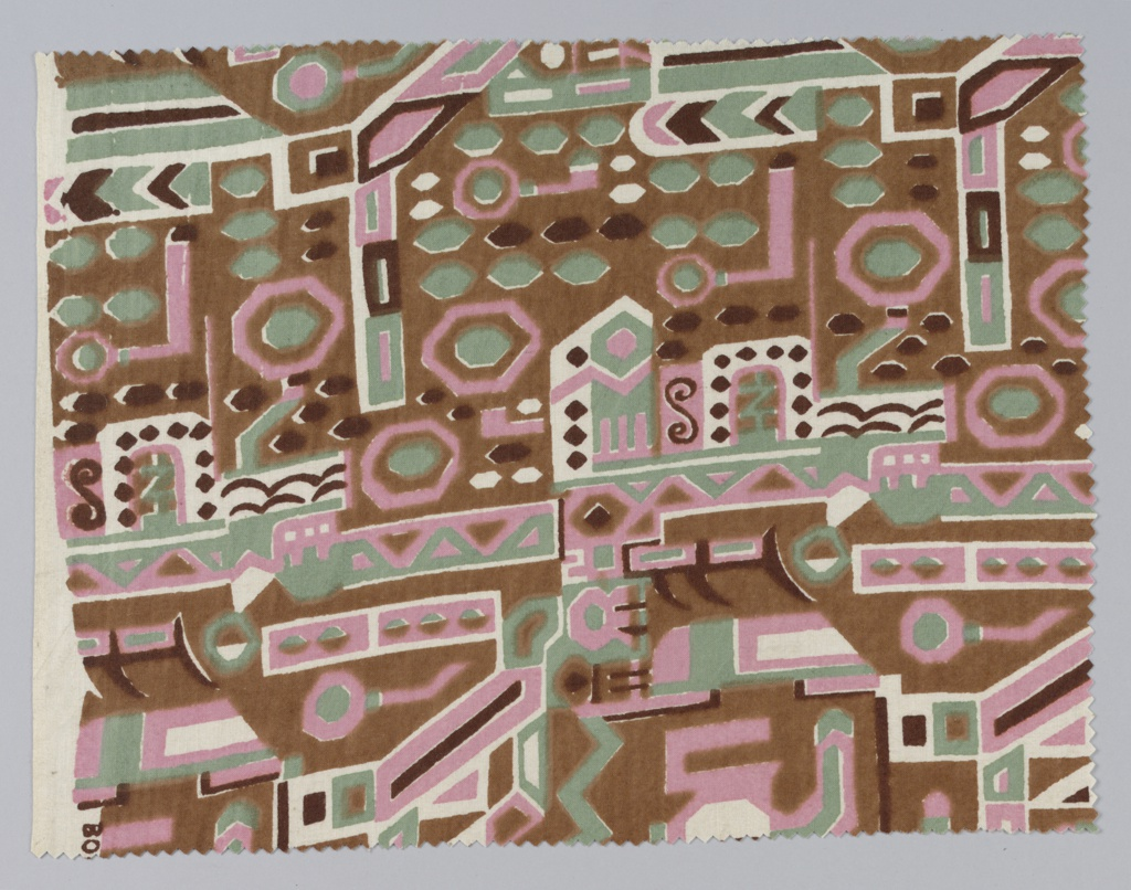 Fragment showing a design of geometric forms in pink, brown and green. Design inspired by motifs found on the textiles of mummy bundles from the Bolivian Andes.