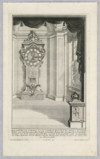 Plate 6. Design for a large standing case clock topped with an urn filled with fruit. It is placed to the right of a window with an astrological screen.