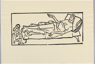 Figure of man reclining on low bed facing left. He raises right arm. Left, small figure is seated looking out at spectator.