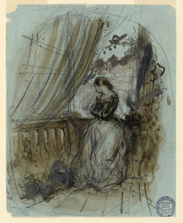 "She is leaning against the railing, her head resting in the palm of her right hand. On the reverse is a rough sketch and the signature, written in ink: ""Mouilleron ft."""