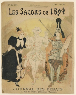 Cover for Journal des Débats, May 1, 1894, showing a gentleman in 18th century dress strewing roses before a lady with a palette suspended from her sash and a man in armor holding palette and brushes.