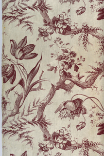 "Offset repeat of a twisting branch supporting various flowers including tulip, ferns and small scale plants attached to branch. Purple monochrome pattern. Length of repeat: 44cm. (17 1/4""). Width of fabric possibly 33"" with 1 1/2"" excess pattern."