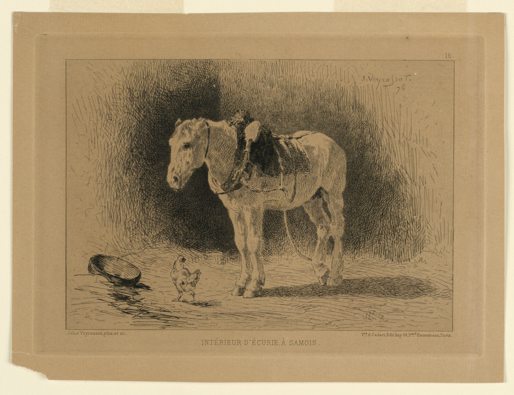 A white work horse, still in harness, stands facing left, inside a stable; a chicken and a container in front of him. Above, right, the artist's name and date and plate number (16). Below, the artist's and publisher's names and locations, and title.