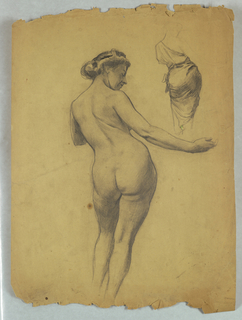 Standing female nude, rear view, with head facing right, right arm extended. Drapery study, upper right.