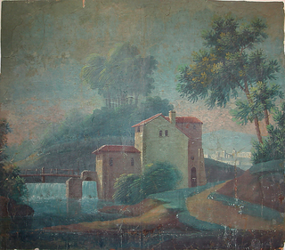 a) In the foreground stands a column on pedestal, with 2 groupings fo trees. In the background is a small village; b) In the foreground is a house of water mill, running stream with bridge. In the background are hills, trees and more buildings.