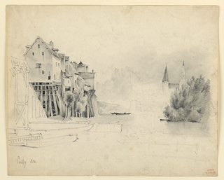 Houses build upon high scaffoldings along the bank of a river. Trees are at left. Boats are on the river. In the right background rises a church over a group of trees. Written in the lower left corner: Poissy 1831.