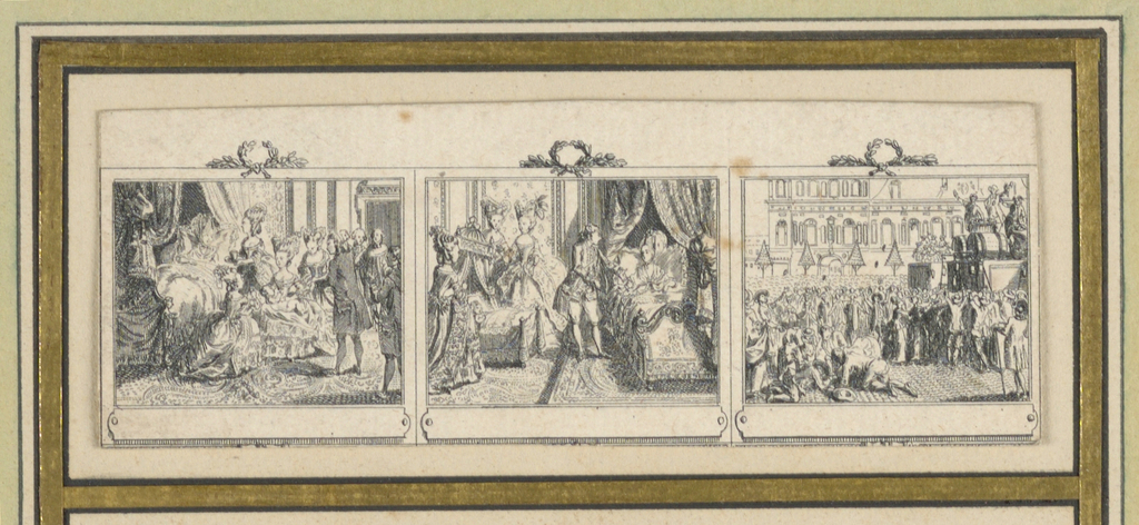 """Divided into three scenes showing the Parisian life of a lady from morning to evening. Depicts """"Naissance Du Dauphin,"""" """"Lpuis XVI Auprès de la Reine,"""" and Rèjouissance Populaire."""""""