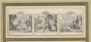 "Divided into three scenes showing the Parisian life of a lady from morning to evening. Depicts ""Naissance Du Dauphin,"" ""Lpuis XVI Auprès de la Reine,"" and Rèjouissance Populaire."""