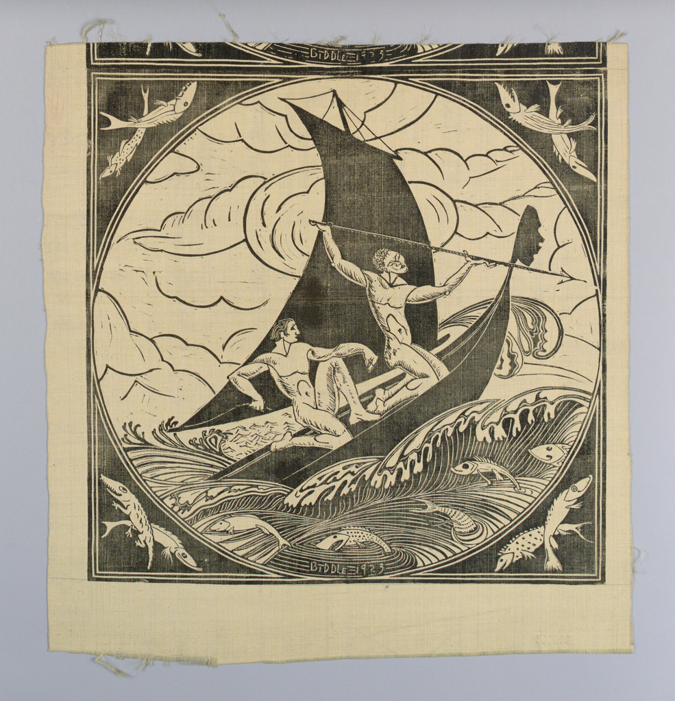 "Ivory silk square with a block printed design in black showing an Eastern-style sailing canoe with two kneeling men, one with a spear. Fish leap in stylized waves around the boat. Corner spandrels each have two crossed fish. At the bottom of the circle: ""Biddle 1923.""  One complete panel and part of a second."