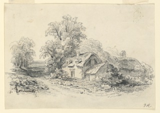 The house of a peasant is near the road, lined with trees and leading to the open country. Another house is shown in the right middle plane.