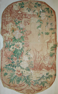 At right side, an architectural detail of a portico with steps. On left side from top to bottom, an array of flowers are festooned, mostly roses with morning glories at top. A small pond at bottom from which grow water grasses. Printed in brown, green, and ivory on tan field.