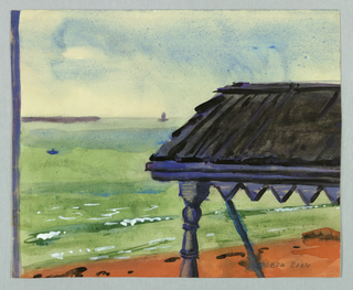 Drawing, Sea with Roof of Porch in Foreground, Rockport