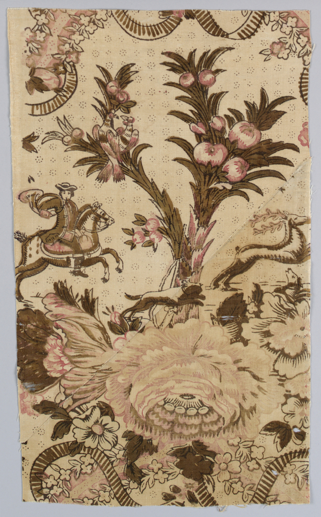 Hunting scene with a man on horseback holding a horn to his mouth while a dog chases a stag. Design is dominated by large scale flowers, branches with birds and ribbons garlands with flowers. In shades of brown, black, pink and red.