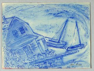 Drawing, House and Sailboats, Rockport