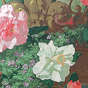 A hanging vase filled with very large roses and other flowers. Detail from larger strips: 1953-158-2/4.