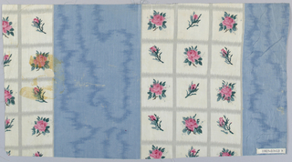 A) Wide stripe of solid pink with molette-printed moire pattern of darker pink adjoins wide white stripe divided into squares outlined by grey. Each square contains a pink rosebud with green leaves. B) Same pattern with blue stripe.