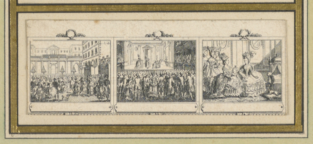 "Divided into three scenes showing the Parisian life of a lady from morning to evening. Depicts ""Bal Sur Une Place Publique,"" ""Reprèsentation Thèâtrale,"" ""La Reine Aurpès du Dauphin."""
