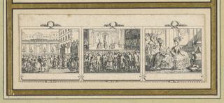 """Divided into three scenes showing the Parisian life of a lady from morning to evening. Depicts """"Bal Sur Une Place Publique,"""" """"Reprèsentation Thèâtrale,"""" """"La Reine Aurpès du Dauphin."""""""
