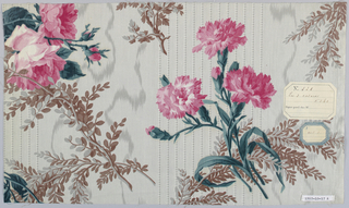 "A) Background with grey moire effect, dotted stripes in clusters and fine pinstripe in grey. Floral pattern of natural size rose clusters and foliage in green, light grey-green and brown, glazed. Ground by ""molette"", pattern roller printed.  B) Same pattern in different colors; ground  the same; flowers in pale rose."