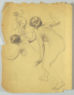 Full figure of bending female nude on right side of page; small sketch of the same pose with figure draped, upper left; lower left, portion of bending nude in same pose.
