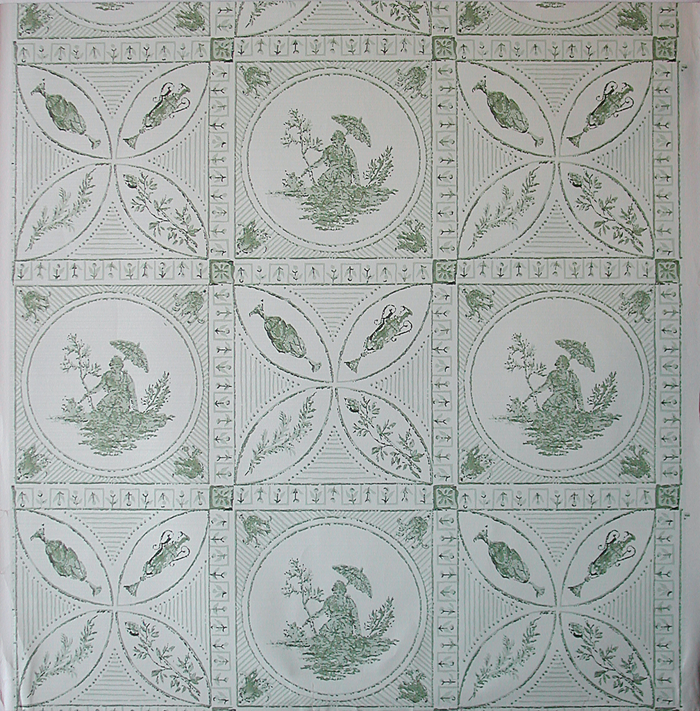 Large squares containing, alternating and in drop repeat, Chinoiserie figure with umbrella in circle, and quatrefoil with urns and branches. Squares are separated from each other by fret containing single flower. a) Two greens on gold; b) two greens on pale green; c) two grays on off-white.
