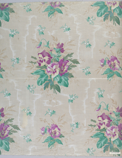 Ground decorated, by molette, in deep cream minute horizontal lines with areas of white moire effect. Pattern of natural size pansy clusters in reddish mauve and white printed over the ground, and small flower clusters in green-glazed.