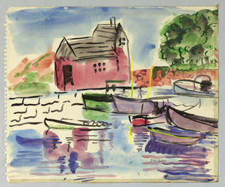 Drawing, House, Sea Wall and Boats in Harbor, Rockport