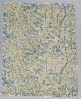 Pattern of chinoiserie type; with pagodas, male figures, and birds amid foliage. At top piece is gathered into band and fitted with tapes, possibly for a valance.