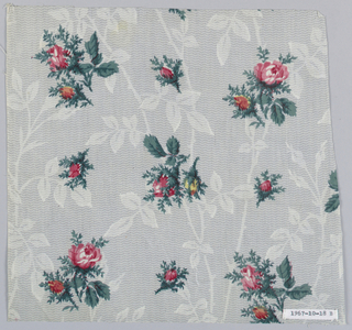 A) Ground molotte printed in grey in zig-zag and meandering ivy pattern; over-printed with detached flower clusters in pink, blue, yellow and green. B) Similar ground, smaller vine; over-printed with large floral sprays and detached rosebuds in reds, pinks, yellow, blue and greens.