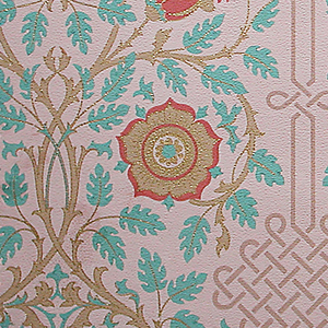 Aesthetic-style design. Three repeats of symmetrical arrangements of intertwined vines with conventionalized roses, the space between the motifs filled with interlaces. Along top and bottom, narrow bands of leaf ornament set with roses. Paper embossed with pebble figure. Printed in red, blue, brown and gold on red-violet ground.