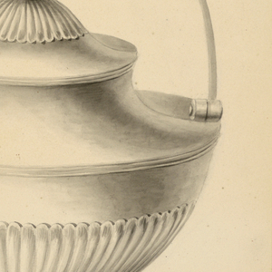 Kettle shown side view; spout at left; urn-shaped body. Handle is hinged to the shoulder. Bottom of body and top of cover covered in shell decor. Stand with curved legs, receptacle for spirits.