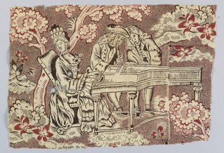 Fragment in red and black depicting a trio sonata with a woman wearing a high headress seated at the harpsichord with two gentlemen playing recorders. Costumes are in the style of the late seventeenth century. A tree and flowers appear in the background. Figures are mainly in black outline with large areas reserved in white. Foliage is red and black with a background of fine picotage. On the rigth side, block mark appears across the harpsichord.