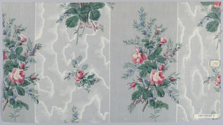 Three pieces, same ground design but different floral patterns. Ground printed , probably by Molette, in two wide stripes in grey, one in very narrow pin stripe, one in horizontal bars of minute dots with moire effect in white. A) Floral pattern in one stripe of rose cluster, small detached  roses in other. B) Different rose cluster. C) Long spray of roses and cream-colored flowers and smaller clusters.