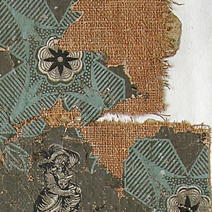 a) Obverse: A mythological scene of three classic figures in grisaille representing a bacchic scene, Youth with a thyrus holding up Bacchus whose fallen empty drinking cup is on the ground. Maenade with a lyre is laughing at him. At top is an applied border simulating a draped fabric, edged top and bottom with lace, and held up by a leaf motif. At bottom is a border simulating marble. b) Reverse: A Directoire design of alternating geometric squares with rosettes. Between are figures of children at play done in grisaille. At bottom is a wide border simulating marble. Green, amber, black and white on gray field.