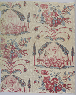 White ground printed in a Chinoiserie design in red, blue and violet with a picotage background. Design shows two Chinese boys, one with a bird, seated below an arch formed by two formal trees in planters. Suspended head down from a cord between the trees is a duck. Above is a vase with feathers and flowers.