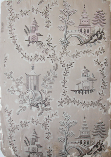 Vertical rectangle, a full width, giving nearly two repeats. Framework of simple floral forms enclosing areas of varying size and shape, with Chinoiserie pagoda and three different summer houses.