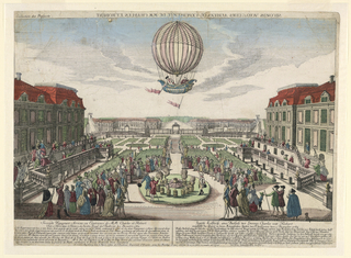 A small gathering watches from the gardens of the Tuileries Palace the ascent of two men in a balloon. Below, lengthy description in French and German, and publisher's address. At top: the title (in reverse).