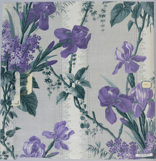 Group having same ground, roller-printed, of a broad grey stripe formed of minute white dots alternating with white stripe edged with fancy foliage pattern. Different floral patterns printed over this ground, probably by block. A) Large Iris pattern, purple and green.B) Garden flowers. C) Sprays of blue flowers with grey-green foliage D) Small flower sprays, brown and green. E) Lillies of the Valley , pansies and roses in violet. F) Bright pink, all-over floral sprays. G) Same flower sprays as F in reds and browns. All highly glazed.