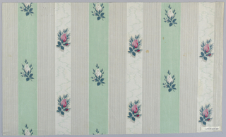 Ground of three repeated stripes; the first a solid pale green with small repeat pattern of white  rosebuds, the second, uniformly narrow grey and white stripes, the third a paint moire pattern molette printed in grey on white and overprinted with repeat of pink rosebuds.