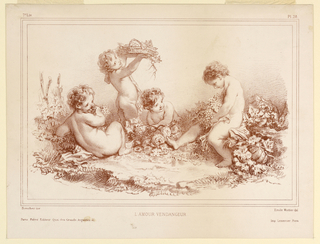 "Four children surrounded by leaves and fruit and flowers, bank them about a cleared space – ""Love gathering the grapes."""