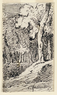 """Trees on a hillside. On verso, horizontally: part of graphite notations by the artist, accounts, a scale with irregular measures; below is the word """"port"""", and """"S'il me faut un[e] boiserie…..(?) 5m - 50c / … portes. 3 - 50 / ….2""""."""